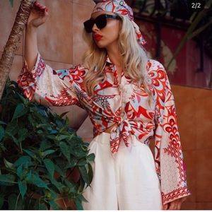 NWT ZARA Pajama Floral Printed Patchwork Blouse S